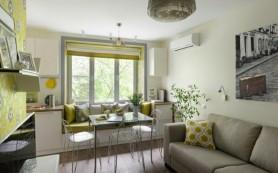 Интерьер маленькой квартиры с ярко-желтыми акцентами