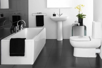 Интересный интерьер ванной: выполняем комнату в черно-белой гамме