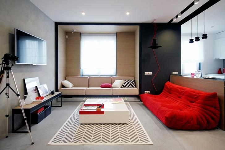 Как оформить квартиру в трех контрастных цветах?