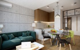 Дизайн трешки с большой гостиной и продуманным хранением