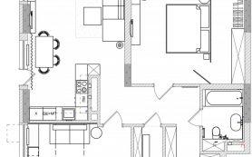 Трешка с модульной мебелью и прозрачной гардеробной