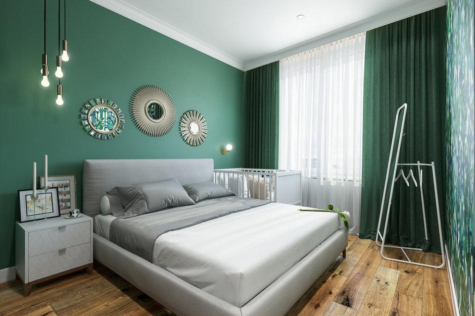 Маленькая квартира с изумрудной спальней