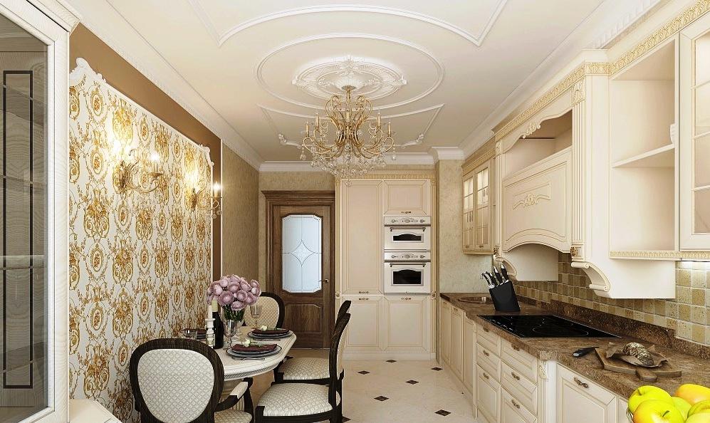 Потолок на кухне из декоративной плитки или лепнины